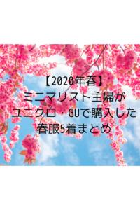 【2020年春まとめ】ミニマリスト専業主婦ユニクロ・GUで買った春服5着をまとめました。